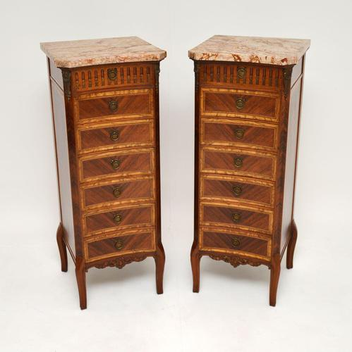 Pair of Antique French Marble Top Slim Chests of Drawers (1 of 11)