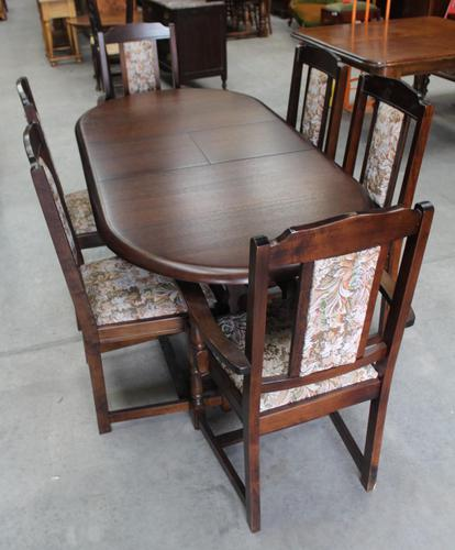 1940's Oak Dining Suite with Set 6 Oak Dining Chairs (1 of 5)