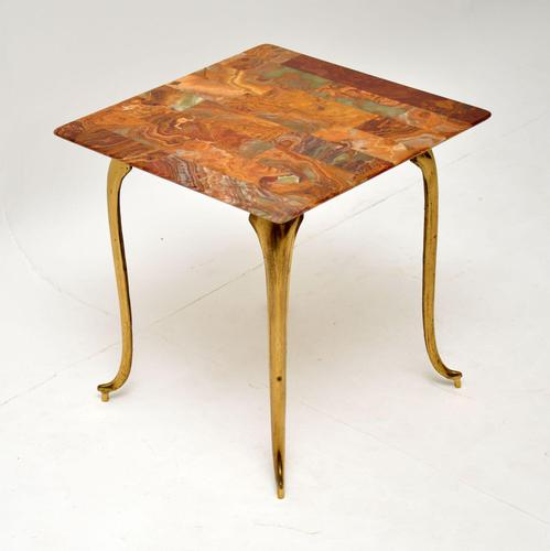 1950's Vintage Brass & Onyx Side Table (1 of 5)