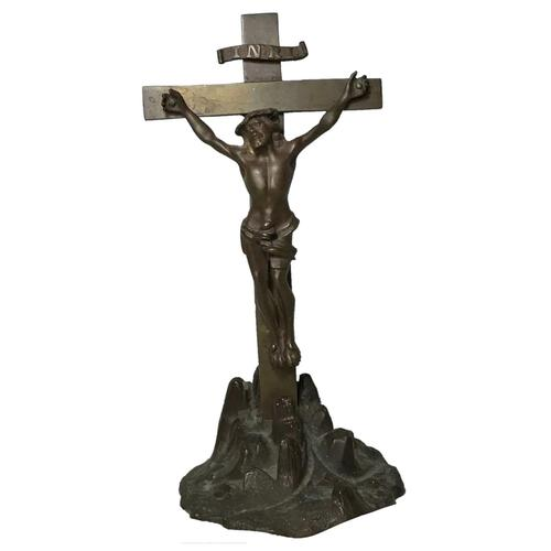 Antique 19th Century French Bronze Religious Crucifix Jesus INRI Display Statue (1 of 12)