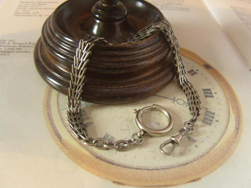 Antique Pocket Watch Chain 1890s Victorian Silver Nickel Herringbone Link Albert (1 of 11)