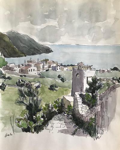 Original watercolour 'a Mediterranean Italian Village' by Helen Hale. ROI. B.1936 Signed c.1970 (1 of 1)