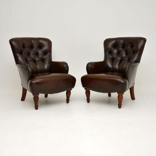 Pair of Antique Victorian Style Leather Armchairs (1 of 8)