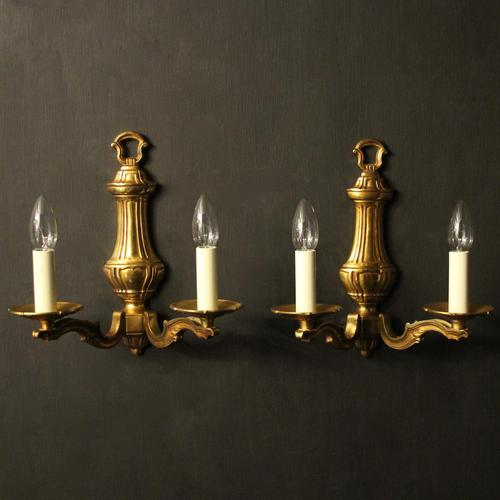 French Pair Of Gilded Bronze Antique Wall Lights (1 of 7)