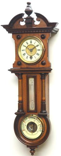 Antique combination HAC 8 Day Wall Clock Clock displays clock, barometer and thermometer (1 of 10)
