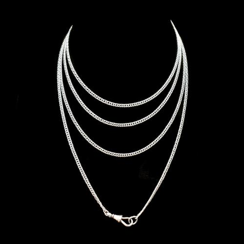 Antique Sterling Silver Long Guard Muff Chain Necklace with Dog Clip (1 of 9)