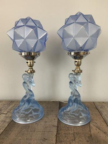 Pair of Art Deco Walther & Sohne Glass Table Lamp, Rewired & Pat Tested c.1930 (1 of 9)