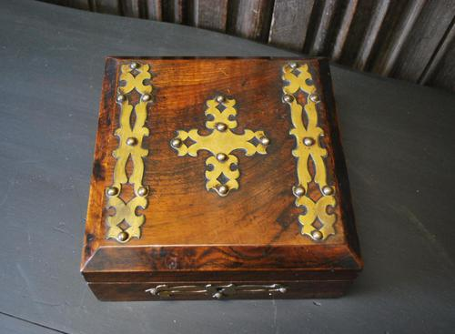 Antique Religious Walnut & Brass Box (1 of 6)