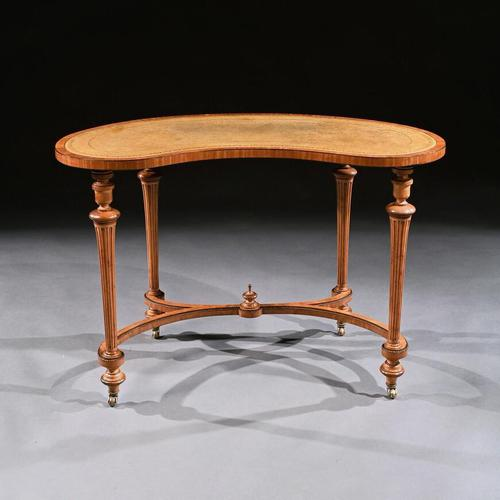 Fine 19th Century Satinwood Kidney Shape Side Writing Table In The Manner Of Gillows (1 of 11)