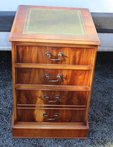 1960's Yew Wood Filing Cabinet with Green Leather Top (1 of 4)
