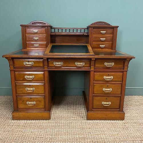 High Quality Maple & Co Antique Victorian Pedestal Desk (1 of 11)