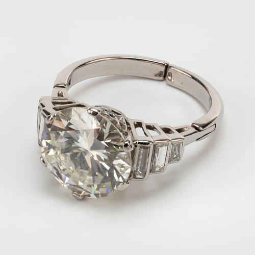 Art Deco Diamond 4.30 Carat Solitaire Engagement Ring c.1930 (1 of 6)