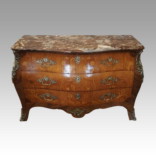1930's Marble Top Marquetry Bombe Commode (1 of 9)