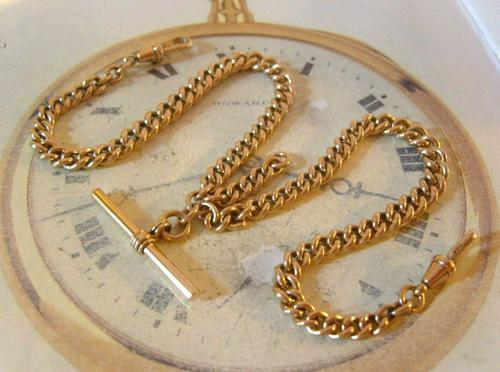 Victorian Pocket Watch Chain 1890s Antique 12ct Rose Rolled Gold Albert & T Bar (1 of 10)