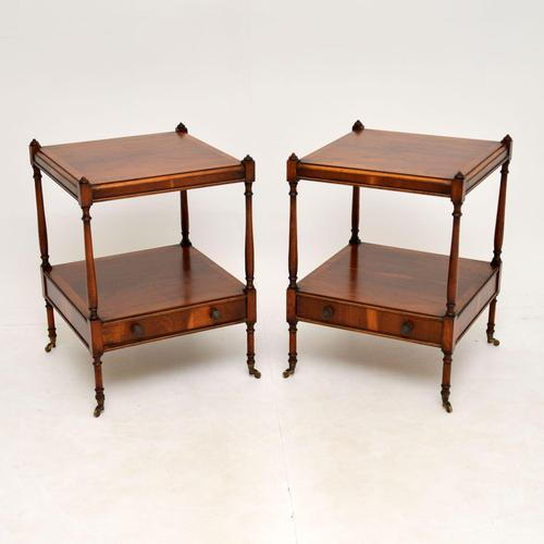 Pair of Antique Georgian Style Yew Wood Side Tables (1 of 14)
