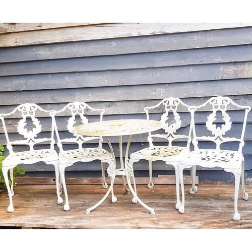 Aluminium Vintage White Painted Five Piece Patio Set (1 of 12)