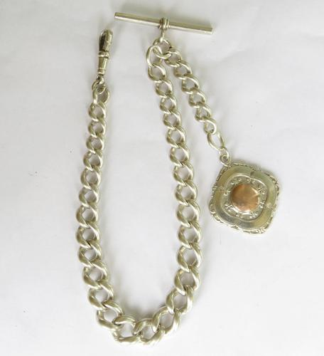 Heavy Antique Single Silver Watch Chain & Fob (1 of 3)