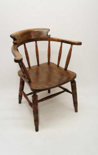Early 20th Century Smokers Bow or Captains Chair, Ash / Beech - Large Seat, Wide Arms (1 of 15)