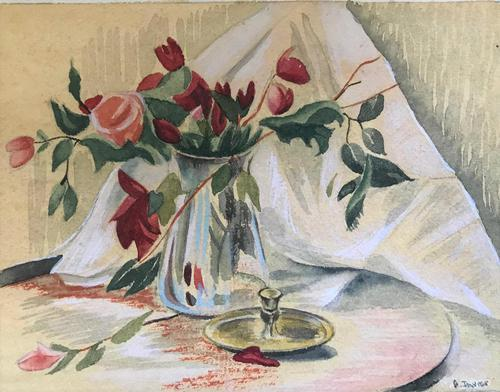 Original gouache on board 'Flowers and candle stick' by Gordon Davies. B.1926. Signed. by Gordon Davies (1 of 1)