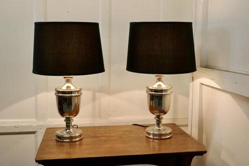 Pair of Large Art Deco Style Chrome Table Lamps with Black Shades (1 of 7)