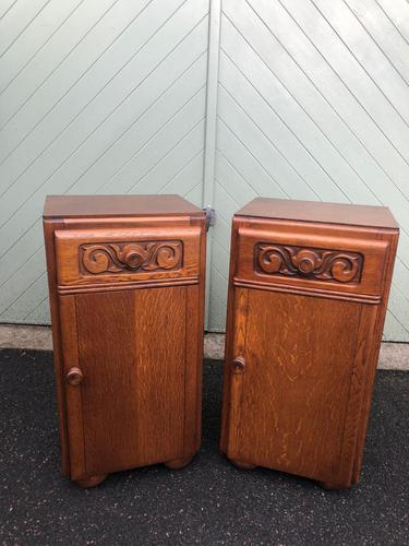 Pair of Antique Oak Bedside Cabinets (1 of 8)
