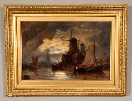 "Oil Painting Richard Henry Nibbs ""Moonlight at Arnheim"" (1 of 5)"