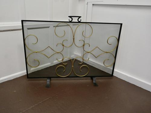 4ft Iron and Gilt Fire Guard for Inglenook Fireplace (1 of 5)