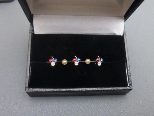 Edwardian 15ct Gold, Ruby, Diamond, Sapphire & Pearl Brooch (1 of 5)