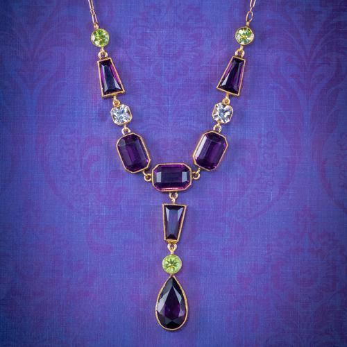 Art Deco Suffragette Paste Lavaliere Necklace Silver 18ct Gold Gilt Circa 1920 (1 of 5)
