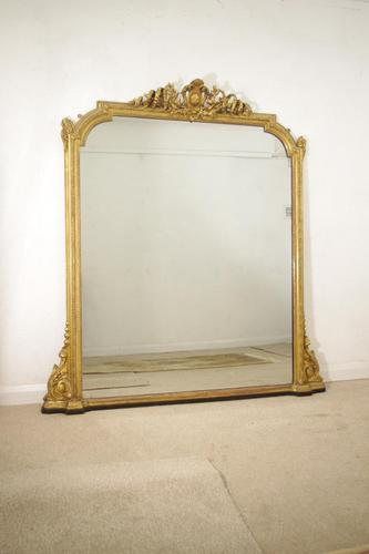 19th Century English Gilt Large  Overmantle Mirror (1 of 12)