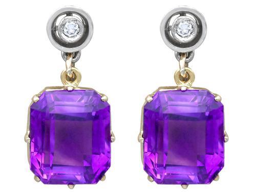 13.68ct Amethyst, 0.04ct Diamond & 18ct White Gold Drop Earrings - Vintage c.1940 (1 of 9)