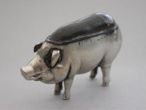 Edwardian Novelty Antique Silver Pig Pin Cushion by Adie & Lovekin, Birmingham 1902 (1 of 10)