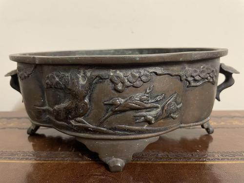 Early 20th Century Japanese Bird Bronze Bowl (1 of 7)