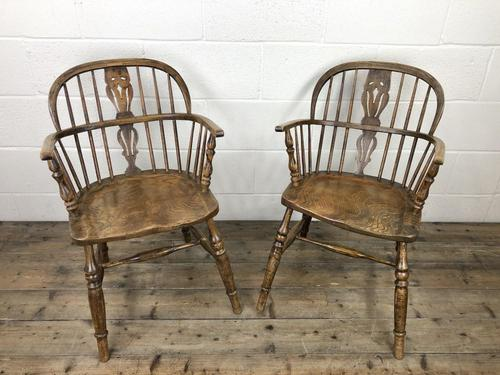 Pair of Antique Windsor Armchairs (1 of 9)