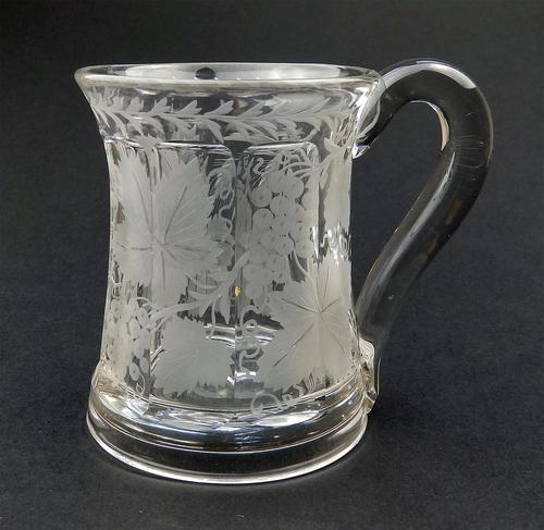 Good Engraved Glass Marriage Tankard with Vine Hops & Barley 19th Century (1 of 11)