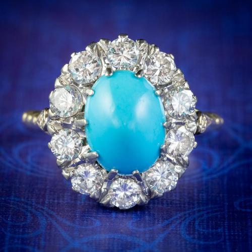 Antique Edwardian Turquoise Diamond Cluster Ring Platinum 18ct Gold 2ct of Diamond c.1905 (1 of 8)