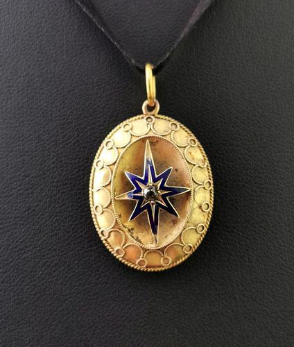 Victorian Diamond Star Pendant, Blue Enamel, 9ct Gold (1 of 11)