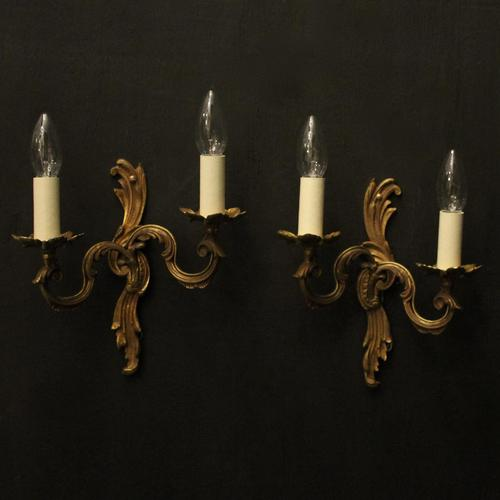 French Pair of Gilded Twin Arm Wall Lights (1 of 10)