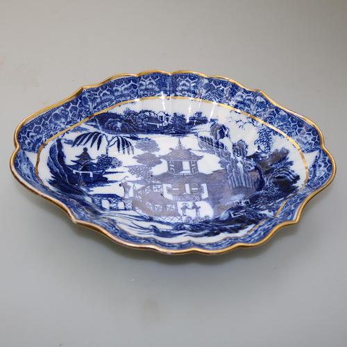 Large Blue & White Long Bridge Bowl Pottery, Unusually Decorated Underneath 19thc (1 of 6)