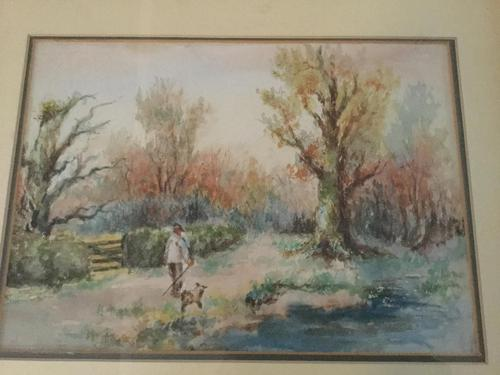 Watercolour. A Man Walking with a Dog. (1 of 2)