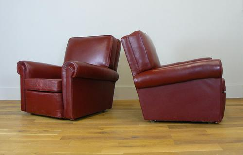 British 1940s Leather Club Armchairs we Have 2 (1 of 12)