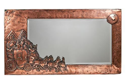 Unusual Arts & Crafts Rectangular Copper Mirror (1 of 7)