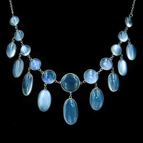 Antique Moonstone Sterling Silver Drop Fringe Necklace (1 of 8)
