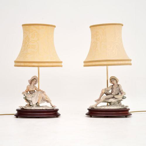 Pair of Vintage Italian Capodimonte Porcelain Table Lamps (1 of 12)