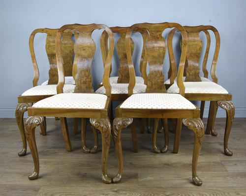 Set of Eight Walnut Queen Anne Style Dining Chairs (1 of 4)