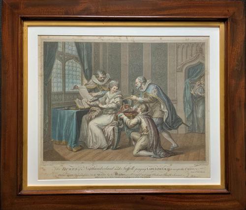 Superb Mahogany Framed Georgian Coloured Engraving of 2 Jukes & Lady Gray c.1803 (1 of 12)