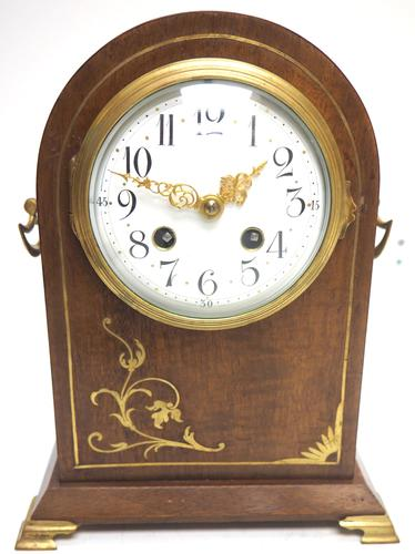 Good Antique French 8-day Arched Top Inlaid Mantel Clock Art Nouveau Mantel Clock (1 of 10)