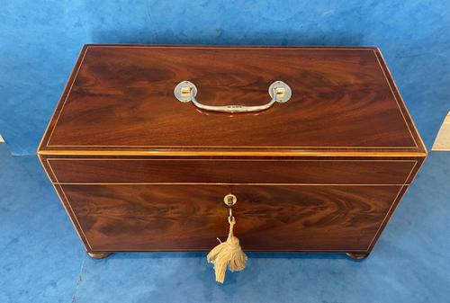 George III Mahogany Twin Canister Tea Caddy (1 of 17)
