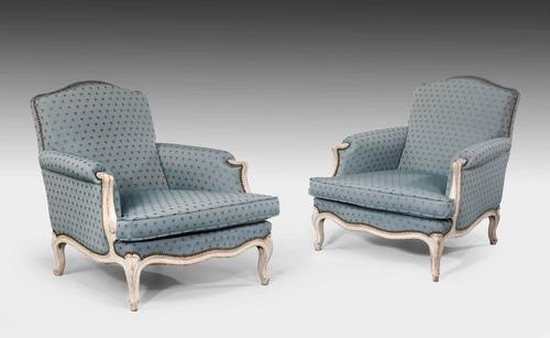 Pair of Louis XV Design Painted Beech Fauteuils (1 of 5)