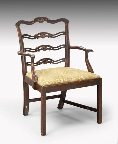 Substantial Early 20th Century Chippendale Style Ladderback Elbow Chair (1 of 8)